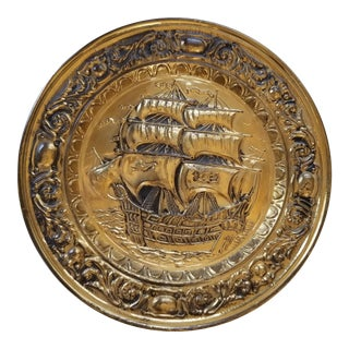 Repousse Hammered Brass Plate England Clipper Ship For Sale