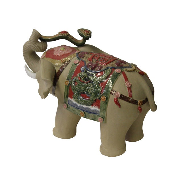 Asian Detail Handmade Ceramic Elephant Trunk Holding Ru Yi & Power Dragon Decor Back Rest For Sale - Image 5 of 7