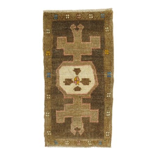 Eclectic Brown Turkish Mat Rug For Sale