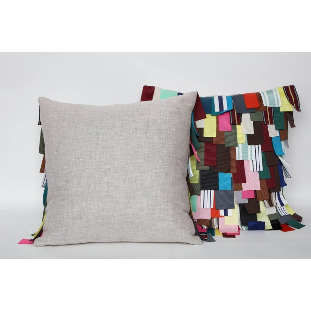 Grosgrain Ribbon Embellished Pillows - A Pair For Sale - Image 4 of 8