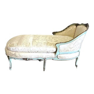Antique Louis XV Style Painted Chaise Lounge