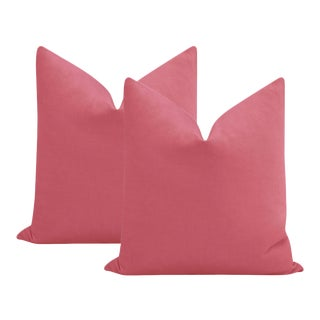 "22"" Rosé Pink Performance Linen Pillows - a Pair For Sale"