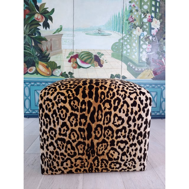 Hollywood Regency 1980s Vintage Karl Springer Style Velvet Leopard Waterfall Bench For Sale - Image 3 of 9
