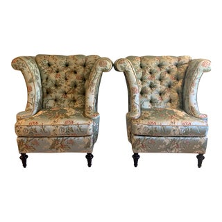 French Wingtip Armchairs- a Pair With Matching Drape Panels For Sale