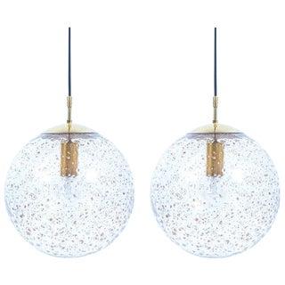 Pair of Limburg Brass and Glass Ball Pendants, 1960