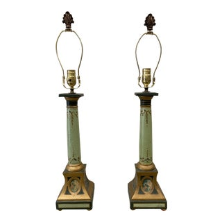 Empire Style Italian Parcel Gilt Painted Terracotta Table Lamps - a Pair For Sale