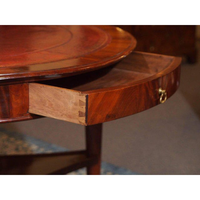 Mid 19th Century Antique French Louis Philippe Mahogany Leather Top Drum Table, circa 1840 For Sale - Image 5 of 7