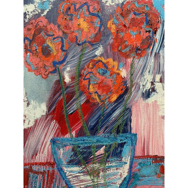 """Contemporary """"You Brought Me Flowers"""" Contemporary Abstract Still Life Mixed-Media Painting by Monica Shulman For Sale - Image 3 of 6"""