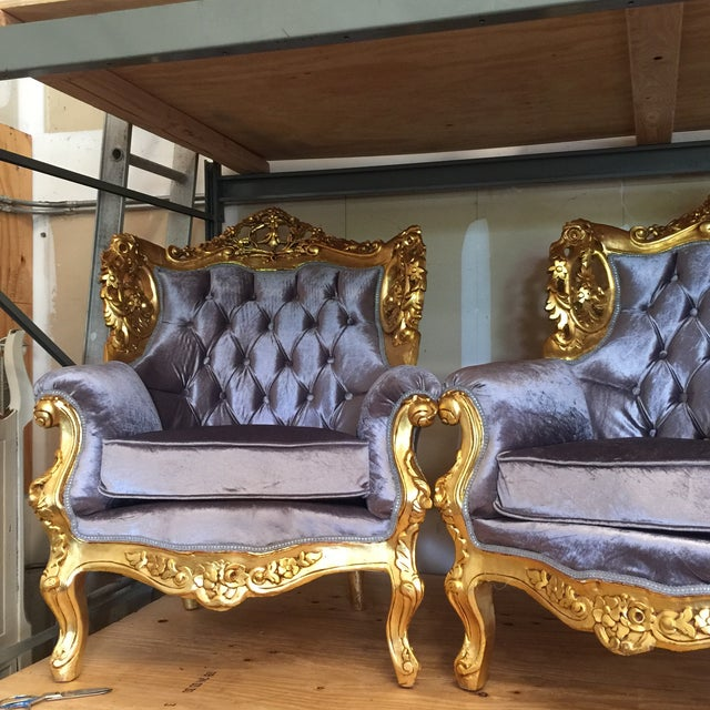 Gilded Purple Velvet Upholstered Chairs - A Pair - Image 4 of 5