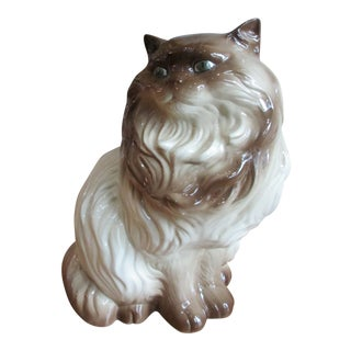 Vintage Large Porcelain Cat Figurine For Sale