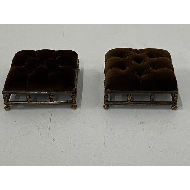 Edwardian Brass & Velvet Footstools - a Pair For Sale - Image 4 of 10