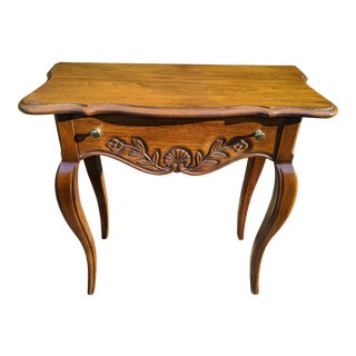 Vintage Queen Anne Hekman Walnut One-Drawer Side Table For Sale