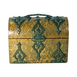 Image of Antique Gothic Burl Wood & Brass Tea Caddy For Sale