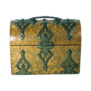Antique Gothic Burl Wood & Brass Tea Caddy