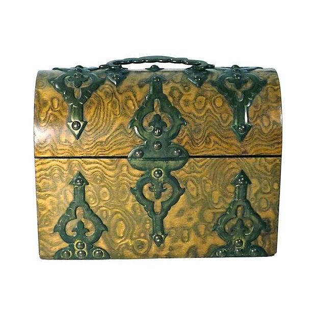 Antique Gothic Burl Wood & Brass Tea Caddy For Sale