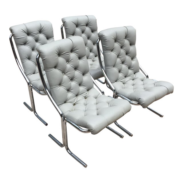 1970s Mid-Century Modern Chrome and Dove Gray Vinyl Chairs - Set of 4 For Sale