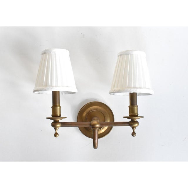 Vintage Brass Double Wall Sconce Lamps With Shades - a Pair For Sale - Image 4 of 10