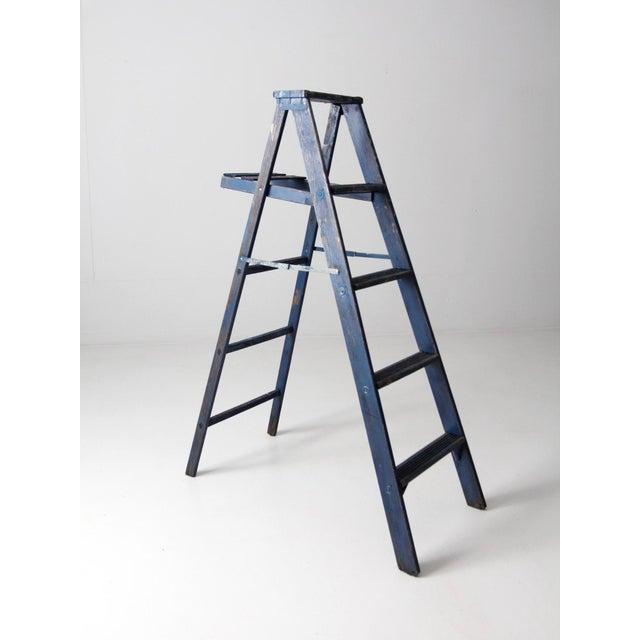 Wood Vintage Blue Wooden Ladder For Sale - Image 7 of 10