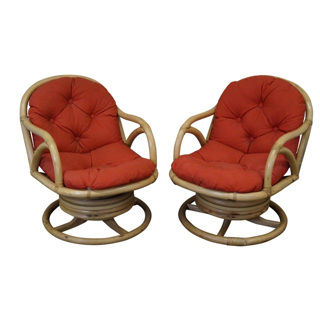 Clark Casual Bamboo Swivel Lounge Chairs - Pair - Image 1 of 10