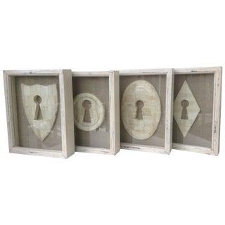 Framed Bone Keyhole Plaque Shadow Boxes - Set of 4