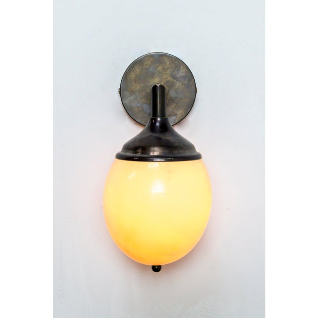 Contemporary Ostrich Egg Cast Brass Arm Sconce For Sale - Image 3 of 11