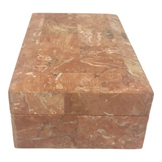 1980s Maitland Smith Contemporary Tessellated Coral Marble Rectangle Box For Sale