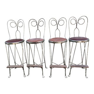 Vintage Mid Century Metal Bar Stools- Set of 4 For Sale