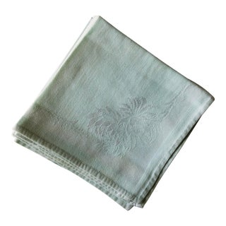 1940s Mint Green Damask Napkins - Set of 8 For Sale