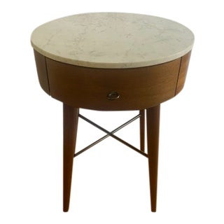 West Elm Mid-Century Modern Marble Top Side Table For Sale