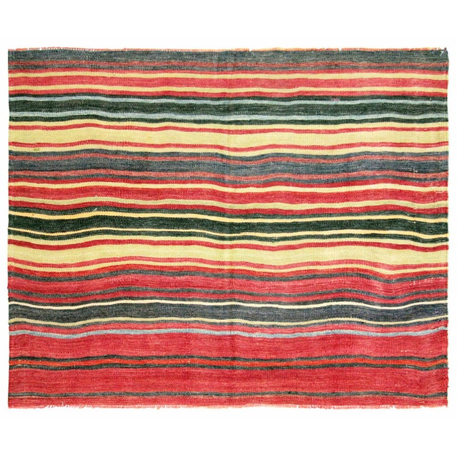 "Nalbandian - 1950s Turkish Striped Kilim - 4'4"" X 5'5"" For Sale - Image 4 of 4"