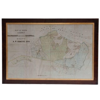 Early 19th Century Framed Pen and Ink Map of Cornwall on Fabric For Sale