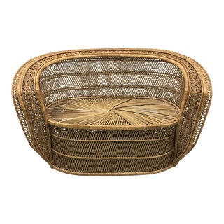 1970s Boho Chic Cobra Wicker Settee For Sale