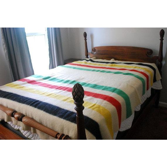 1940s Striped Wool Camp Blanket For Sale - Image 4 of 7