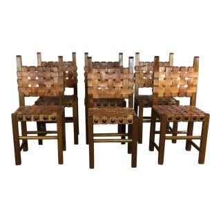 1970s Vintage Spanish Style Dining Chairs- Set of 6 For Sale