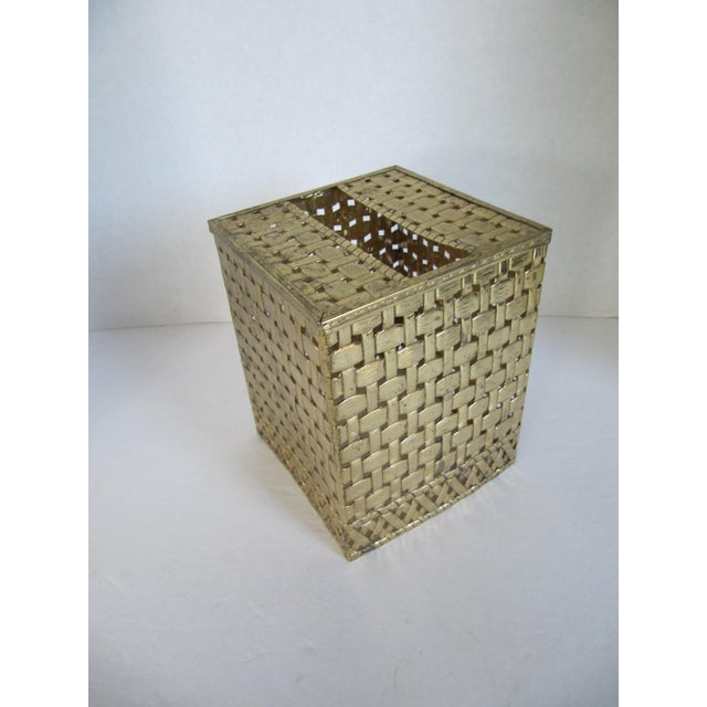 Basket-Weave Gold Tissue Box - Image 2 of 4