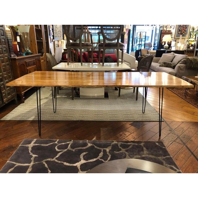 Metal Custom Live Edge Wood Table For Sale - Image 7 of 11