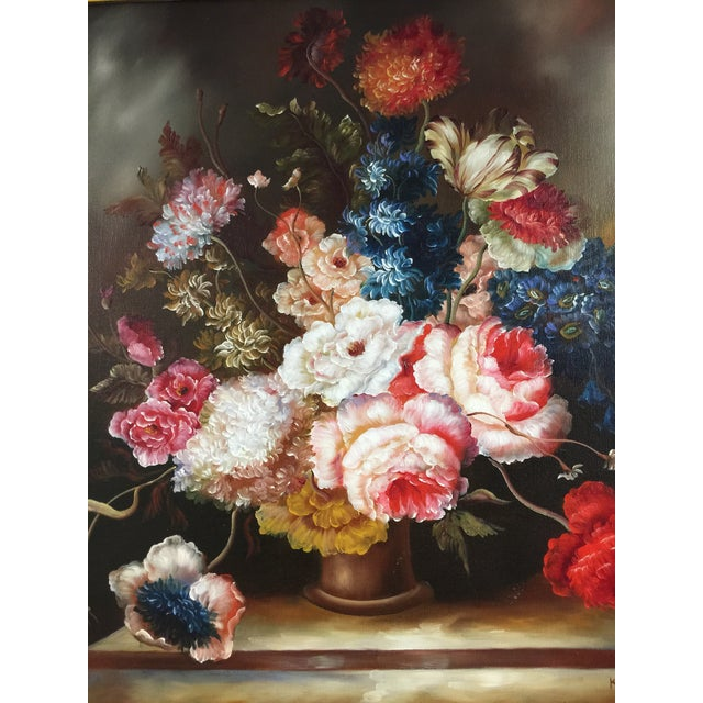 Ornate Floral Oil Painting - Image 4 of 5