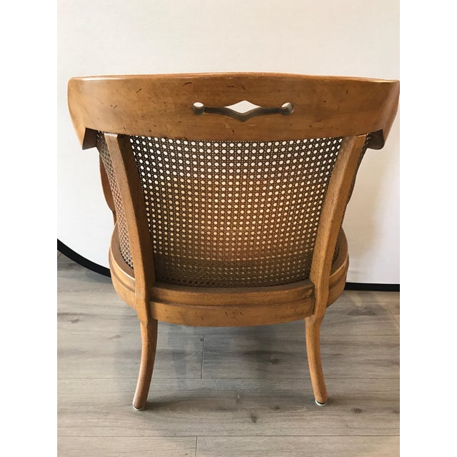 Mid-Century Modern French Barrel Back Caned Armchair For Sale - Image 4 of 8