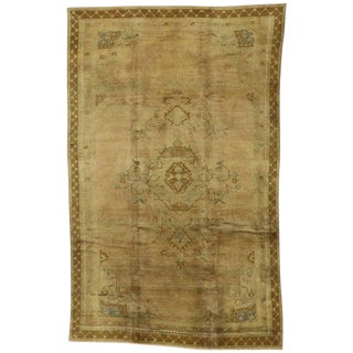 Vintage Mid-Century Turkish Oushak Rug - 7′3″ × 11′8″ For Sale