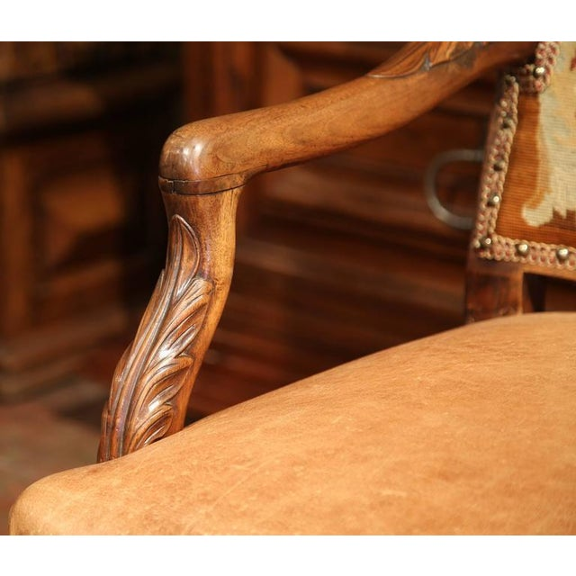 Metal French Leather & Needlepoint Armchairs - a Pair For Sale - Image 7 of 10