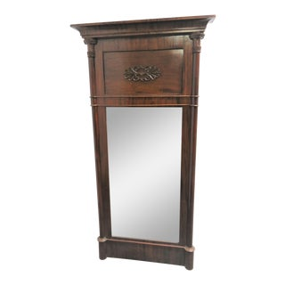 Late 19th Century Empire Louis Philippe Mahogany Wall Mirror For Sale