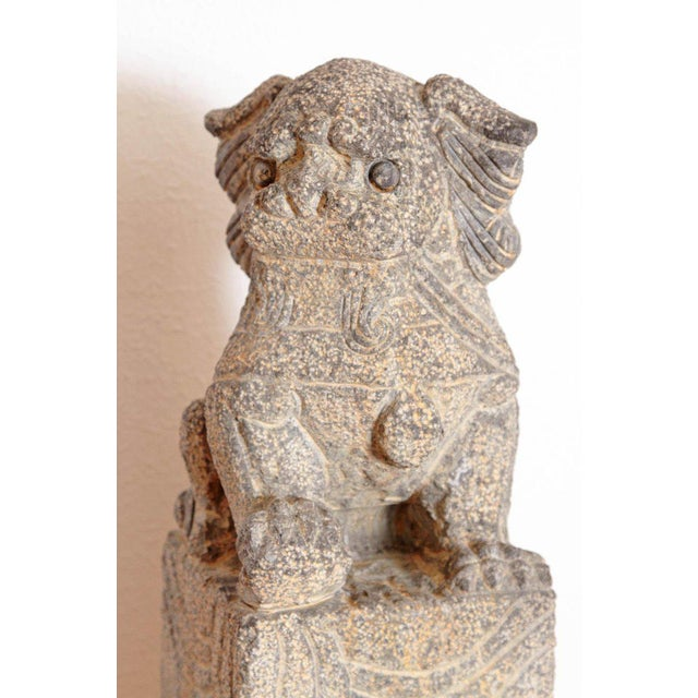 Pair of Chinese Foo Dog Hitching Posts For Sale - Image 11 of 13