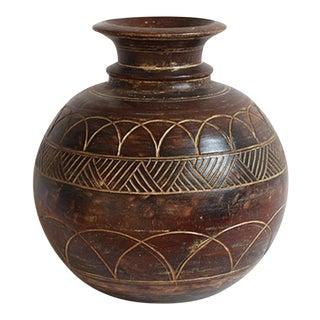 Carved Wood Oil Pot For Sale