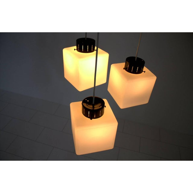 Metal Set of Three Milk Glass Cube Pendants by Stilnovo, Italy, 1960s For Sale - Image 7 of 8