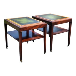 Antique Neo Classical Walnut Leather Top End Tables by Ferguson - a Pair For Sale