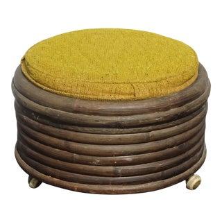 Vintage Mid Century Modern Yellow Bamboo Ottoman Footstool W Storage on Castors For Sale