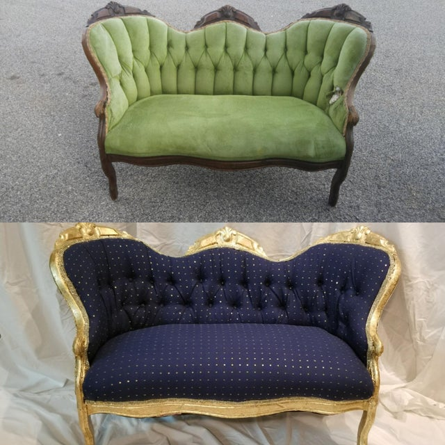 Antique Settee in Navy Linen With Gilded Frame For Sale In Atlanta - Image 6 of 10