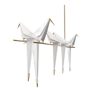 Contemporary Steel and Acrylic Perch Bird Chandelier For Sale
