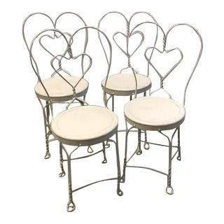 1940s Americana Heart Shaped White Metal Chairs - Set of 4