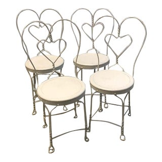 1940s Heart Shaped White Metal Ice Cream Parlor Chairs - Set of 4